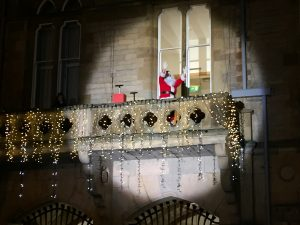 Santa in the spotlight on Bishop Auckland Town Hall Balcony