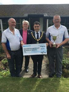 Mayor Adam Zair with club members of the Bishop Auckland Bowling Club