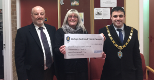 Mayor Adam Zair (right) with Councillor David Fleming (left) and Church Centre Manager Anne Ramshaw
