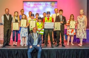 Mayor David Fleming and Town Councillors gathered with the Special Awards Winners of the Youth Awards