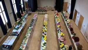 Arial view of the Horticultural and Produce Show entries being judged in Bishop Auckland Town Hall