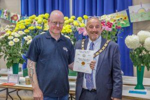 Mayor David Fleming with the Winner of the Chrysanthemum and Dahlia Society Awards