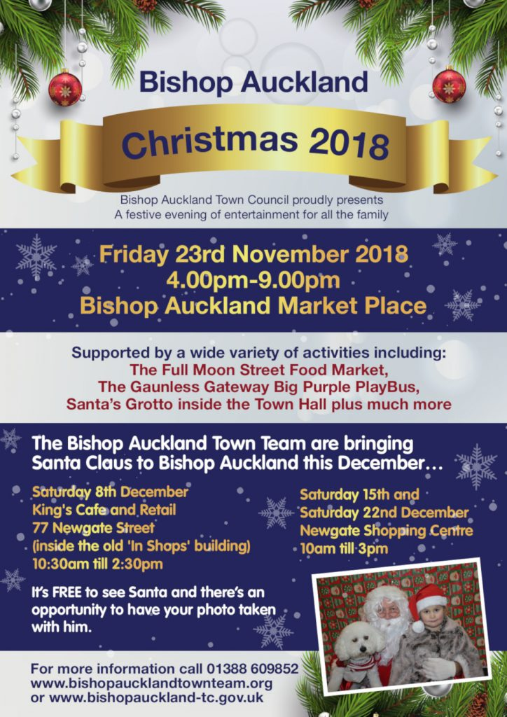 Christmas in Bishop Auckland Flyer, Friday 23rd November 2018