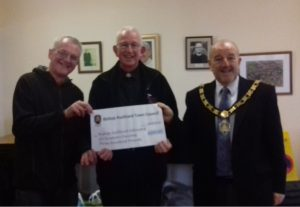 Mayor David Fleming and Councillor David Wilson with Father Dennis Tindall of Bishop Auckland Fellowship of Christian Churches