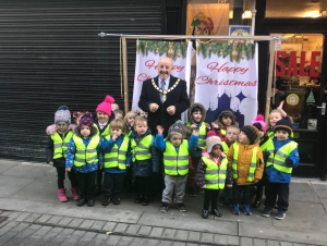 Mayor David Fleming with Aclet Close Nursery School in Fore Bondgate