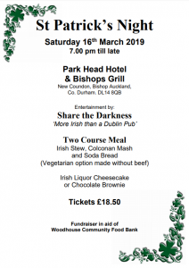 St Patrick's Night Poster, Saturday 16th March 2019