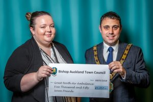 Mayor Adam Zair presenting end of Mayoral year donation of £5057 to the Great North Air Ambulance
