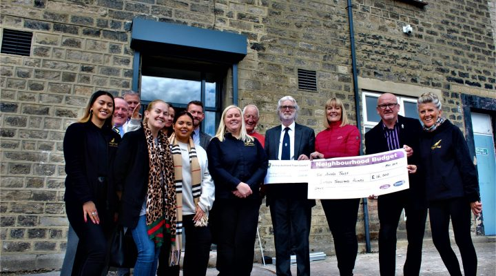 Ambassador, Scarlett Moffatt joins funders and volunteers of the Angel Trust at their new Headquarters, the former Belvedere Social Club in Bishop Auckland