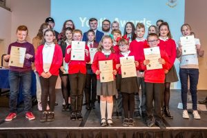 Group photograph of the Nominees for the 2019 Youth Award, held in Bishop Auckland Town Hall