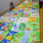 Colourful drawings and paintings entered into the children's section of the Horticultural and Produce Show
