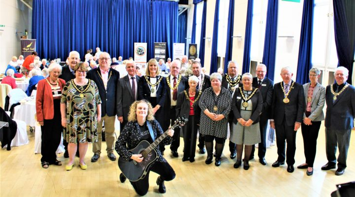 Mayor of Bishop Auckland, Councillor Joy Allen with Mayors, local groups and musician, Amy Leigh
