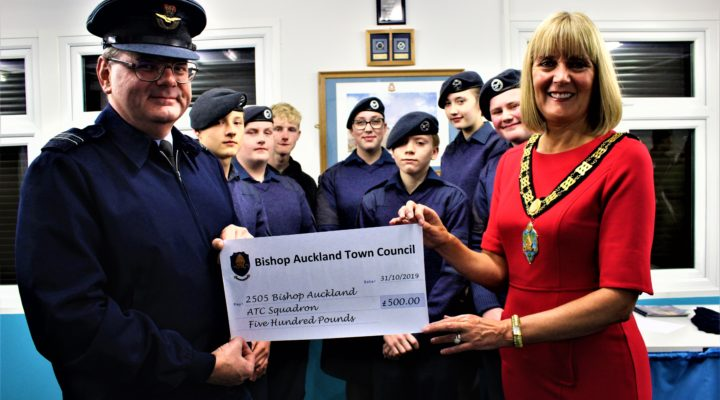 Mayor Joy Allen presenting the Community Fund grant to the Cadets of 2505 Bishop Auckland ATC Squadron