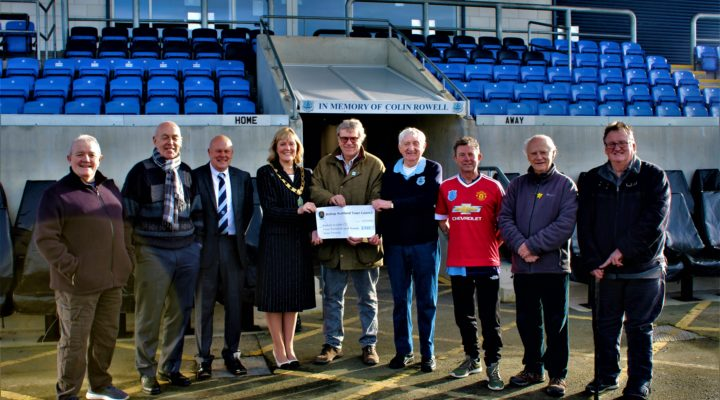 Mayor Joy Allen presenting the Community Fund grant to Steve Newcombe (Director), John Rowell and Cast from the Bishop United CIC project.