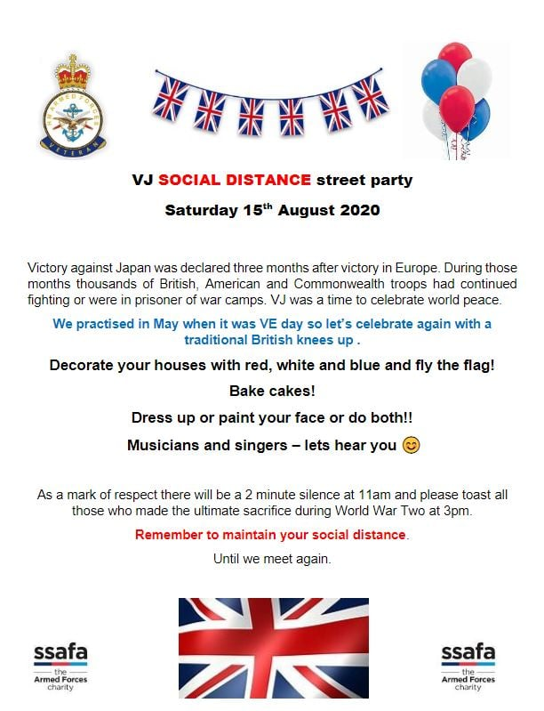 VJ Social Distance Street Party, Saturday 15th August 2020