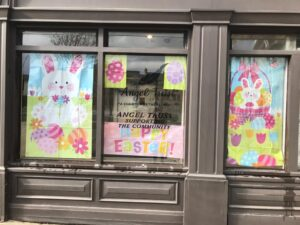Easter Decorations in Job Centre window