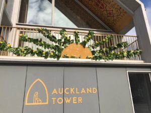 Flowers on Auckland Tower