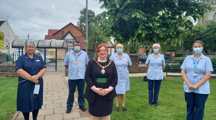 Councillor Katie Eliot, Mayor of Bishop Auckland with NHS Staff