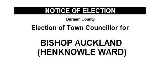 Notice of Election of Town Councillor, Henknowle