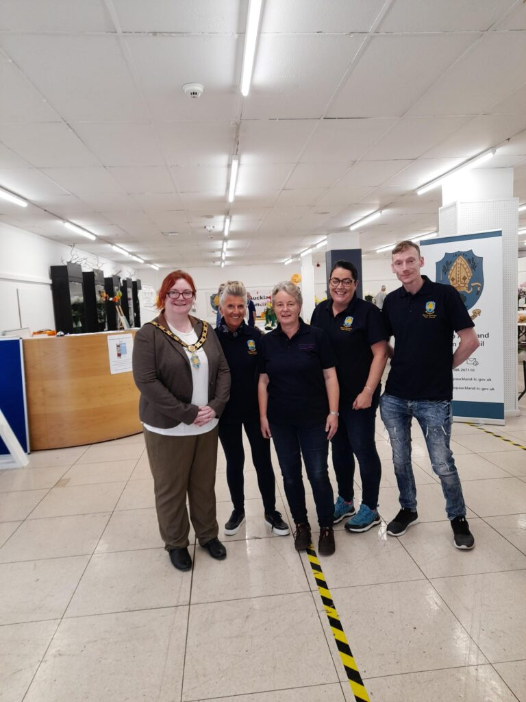 Horticultural Show Team 2021 (Left to right) Mayor Katie Eliot, Beryl Anderson, Liz Drake, Sarah Harris and Michael Armstrong